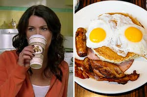 Lorelai drinking coffee on the left and a plate of bacon, sausage, eggs, and pancakes on the right