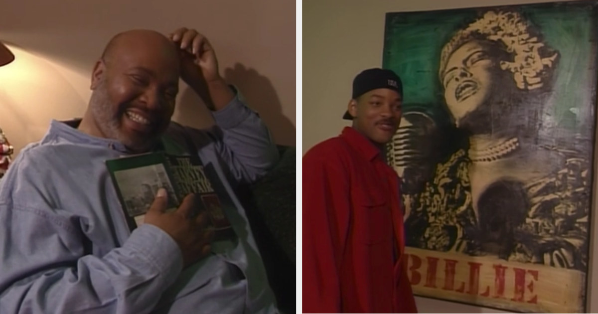 James Avery smiling on his dressing room couch while Will admires the Billie Holiday poster hanging in the room