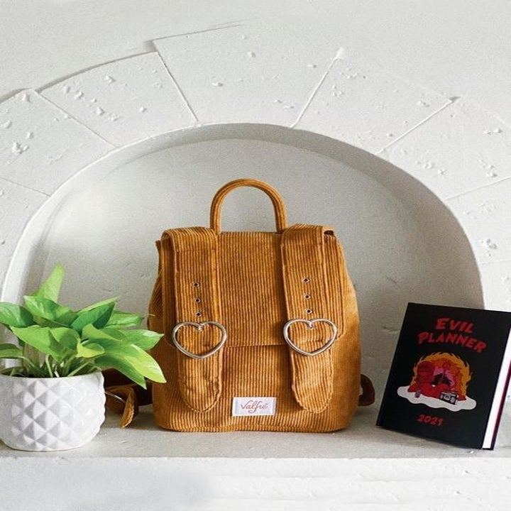 tan corduroy backpack