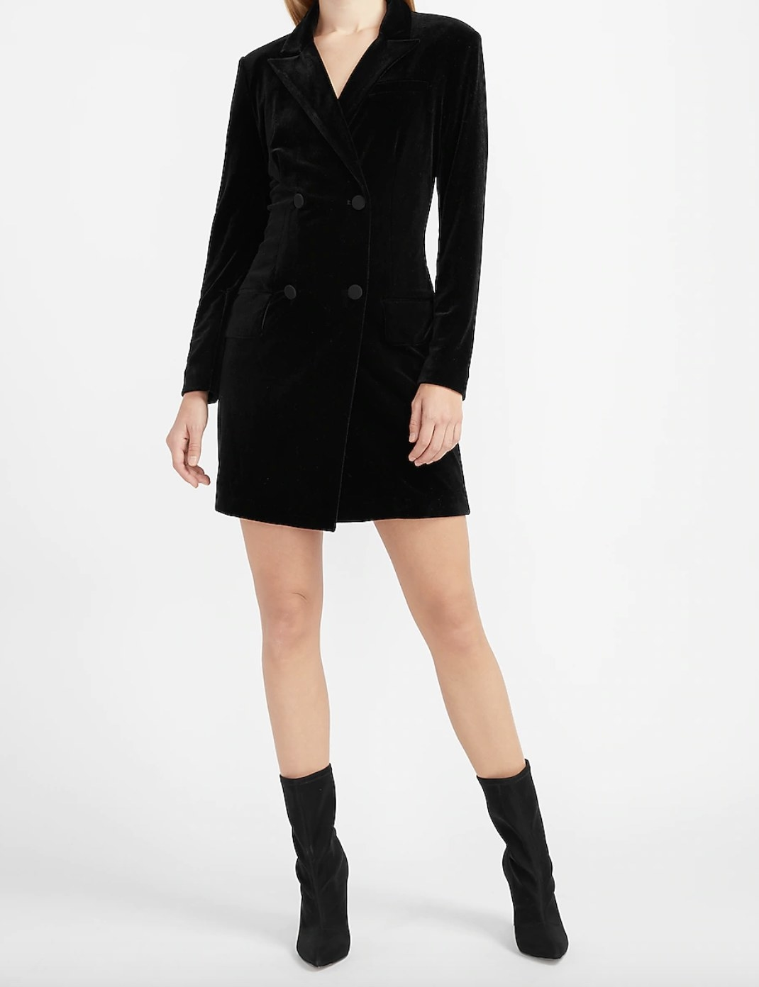 a black belted double breasted blazer dress