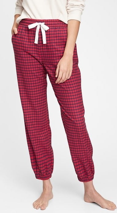 model wearing flannel PJs bottoms