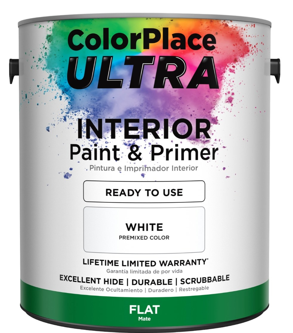 The two-in-one paint and primer in a white canister