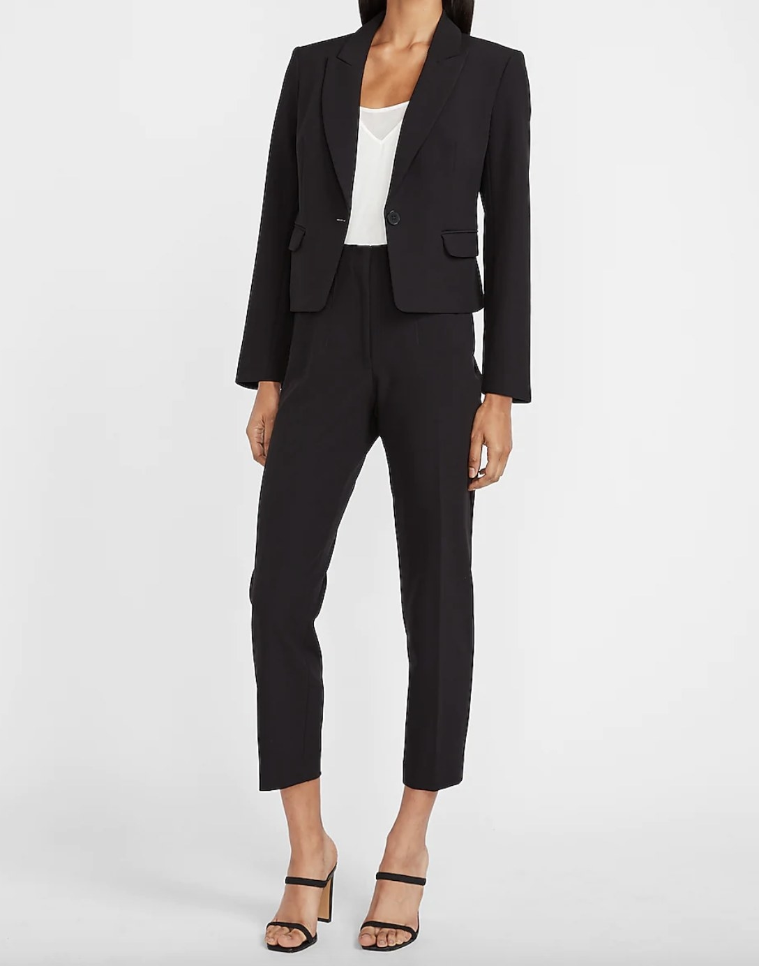 A pair of high-waisted dress pants in black