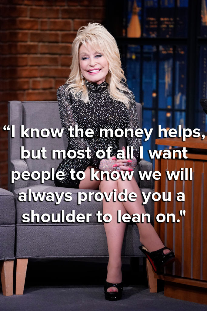Dolly says she'll always provide people with a shoulder to learn on