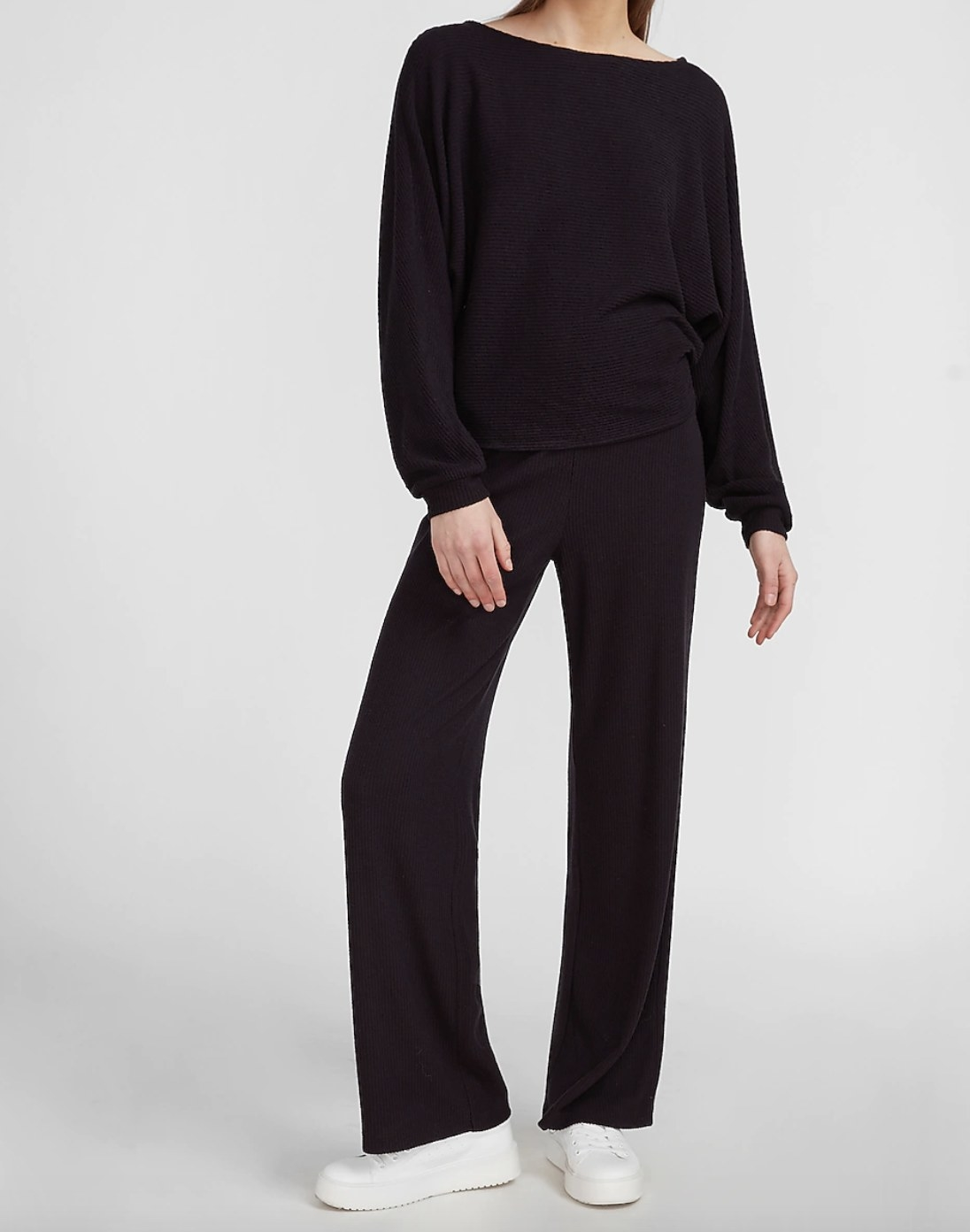 A high-waisted ribbed wide-leg pant in black