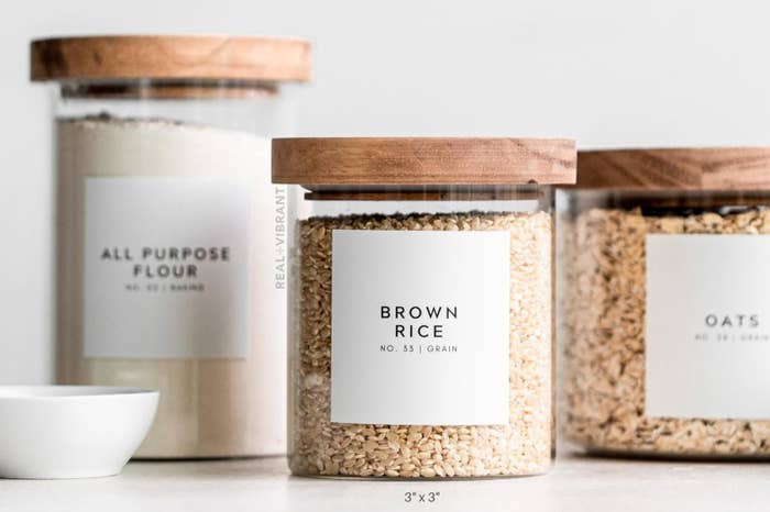 "simple label on jar that says ""brown rice, no. 33 