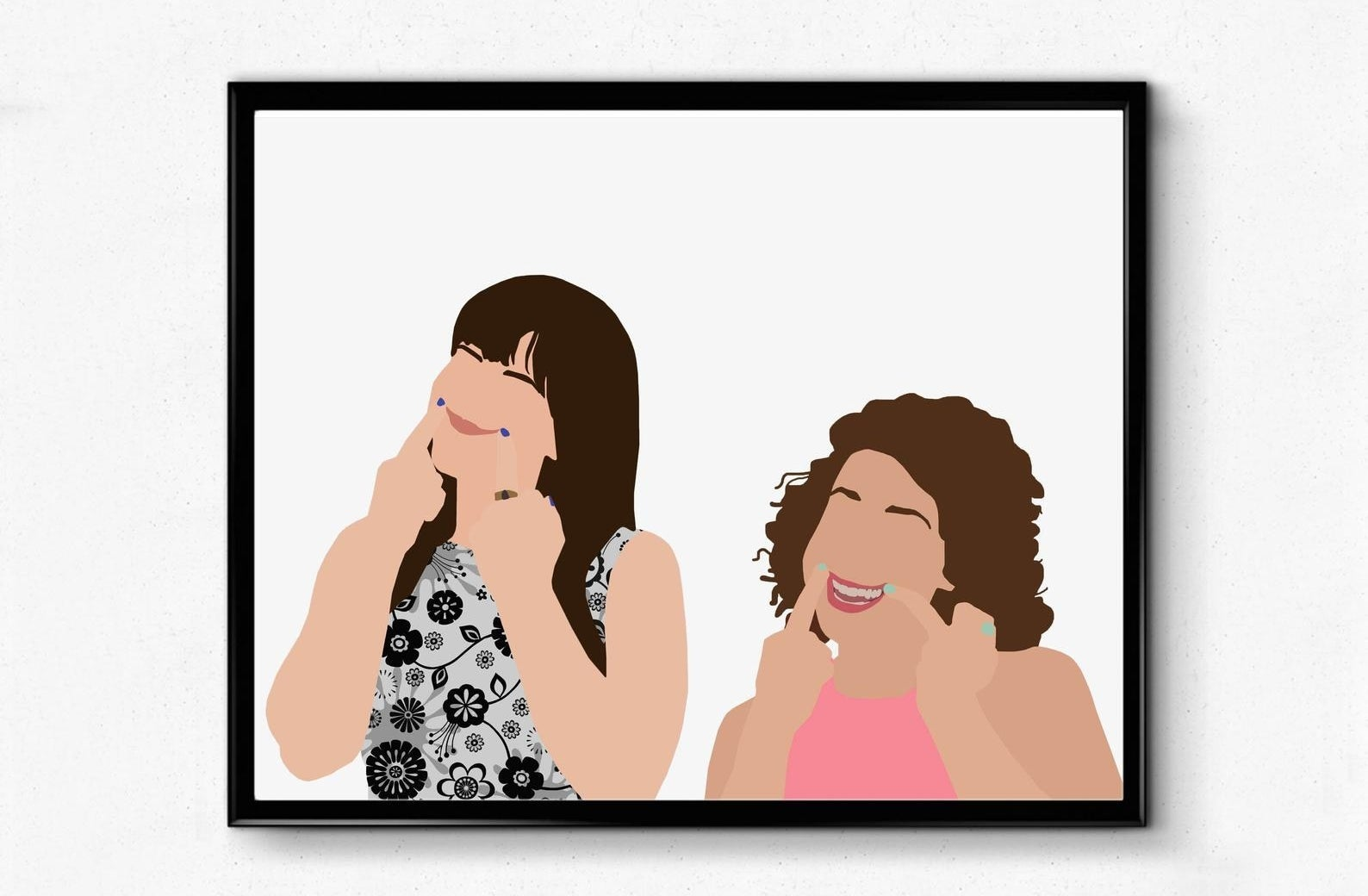 A print with Abby and Ilana making fake smiles with their middle fingers