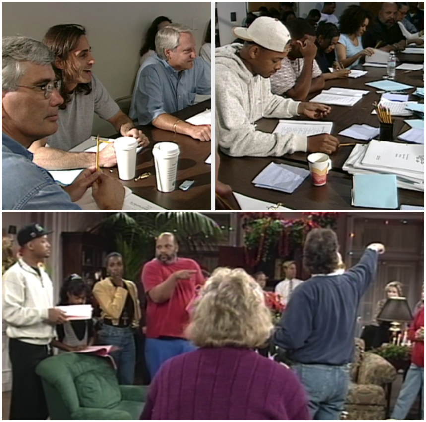 """A shot of """"The Fresh Prince"""" cast reading an episode at the table, and the cast rehearsing during Season 1"""