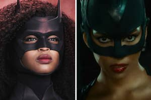 Batwoman is on the left with Catwoman on the right both dressed in masks