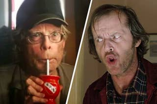 Stephen King drinking from a straw while Jack from the shining makes a funny face at him