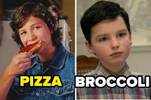 A teenage boy with shaggy hair eats a piece of pizza. Next to him, a younger boy sits at a kitchen table.He wears a button-down short sleeve shirt and his eyes are wide, mouth in a line.