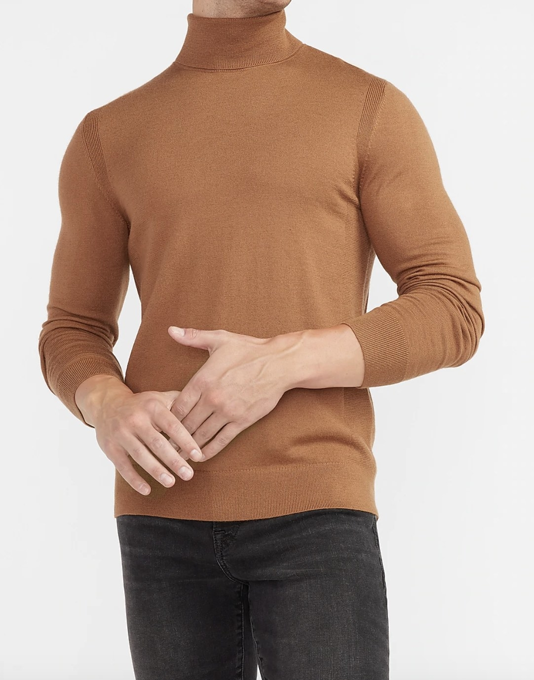 A solid merino wool blend sweater in brown