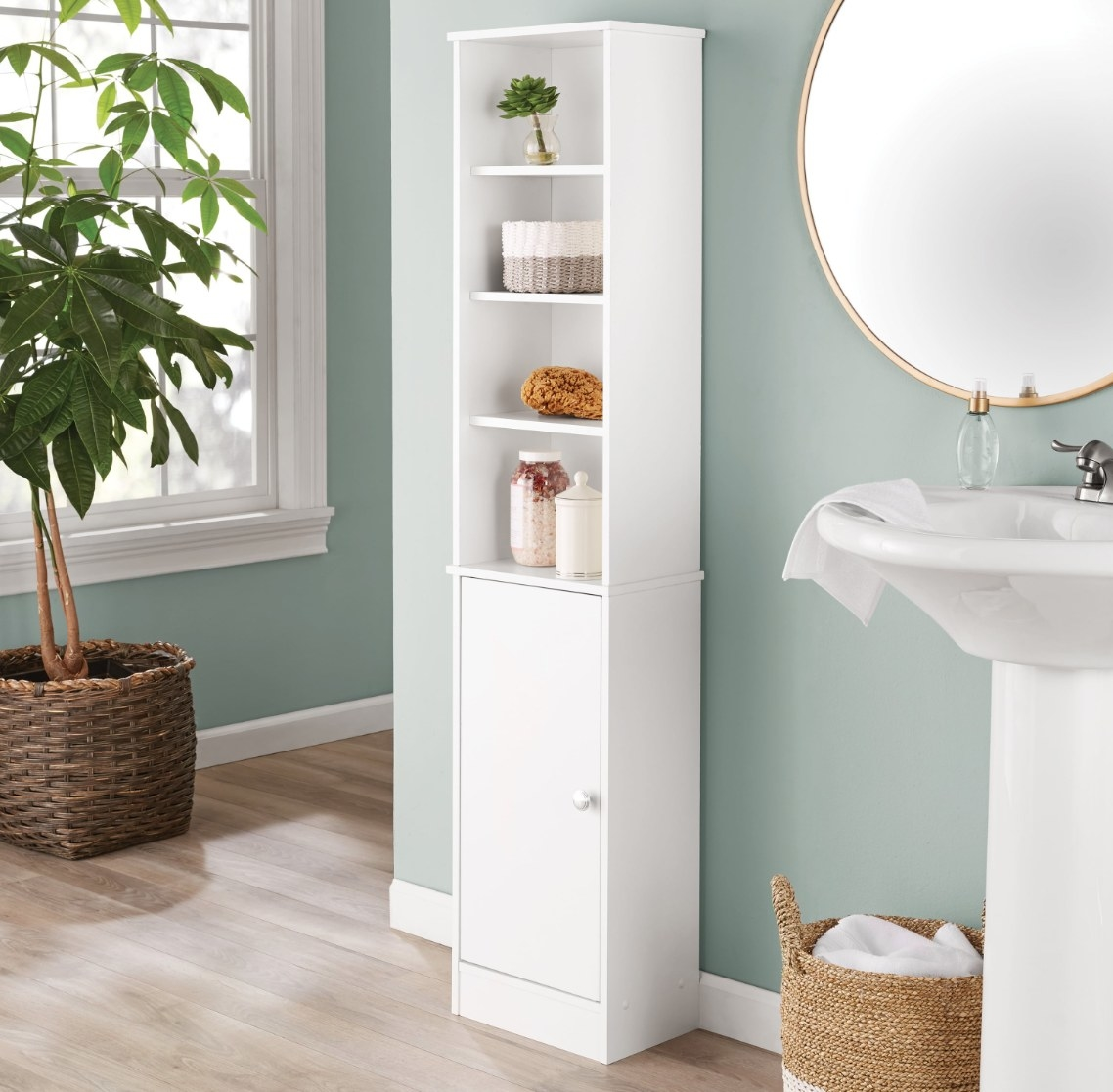 The bathroom storage linen tower in white