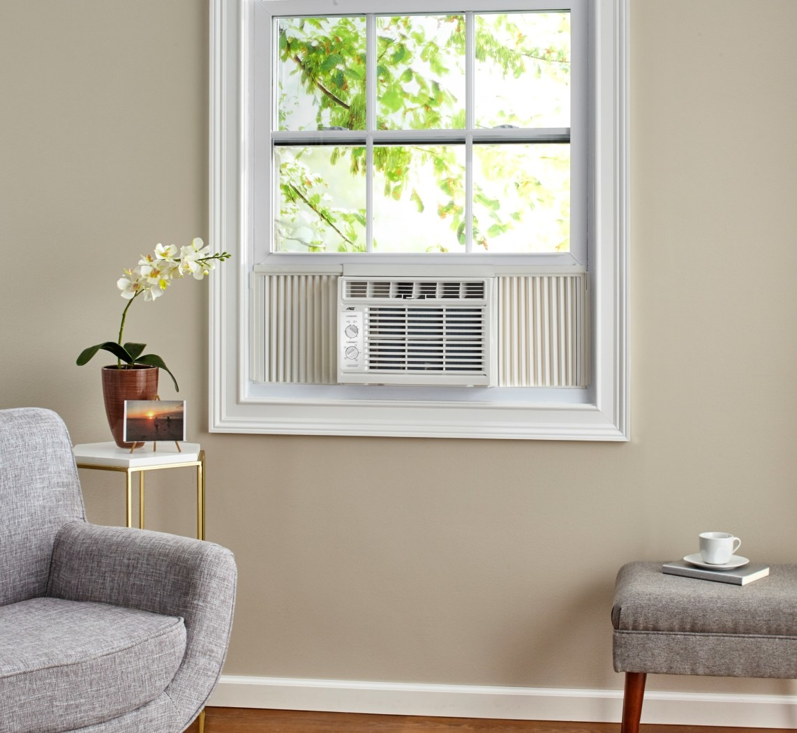 The window AC unit in white
