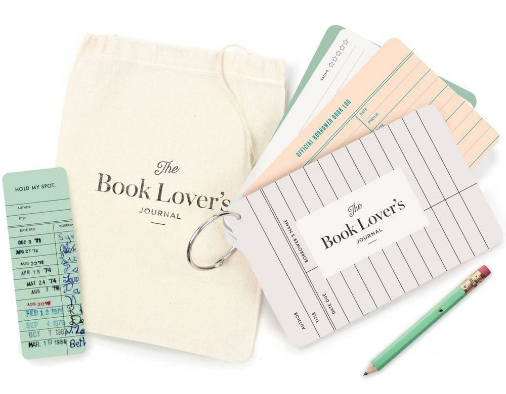 the various journal items that come in the book lover's journal kit