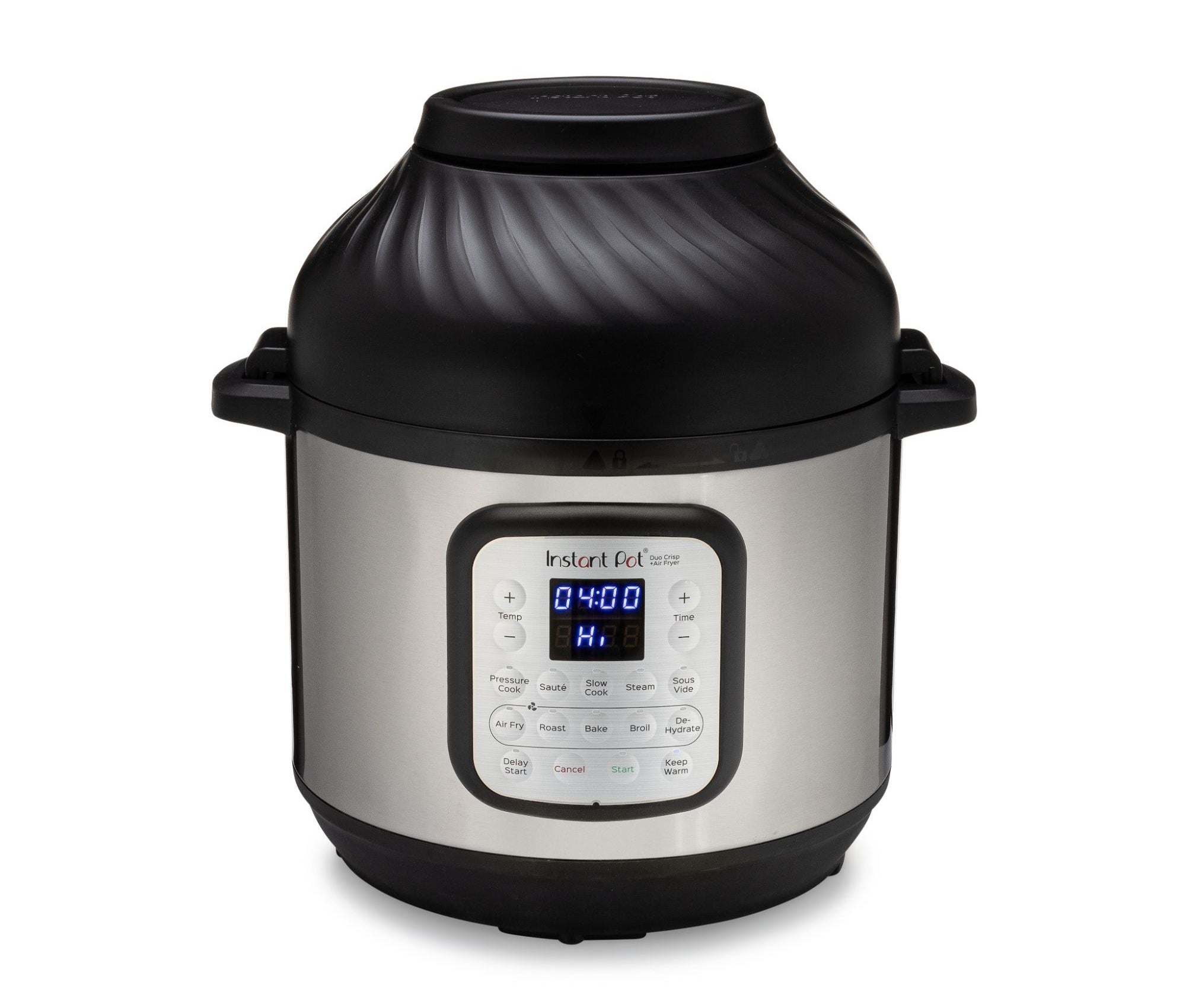 instant pot kitchen appliance with an air fryer top