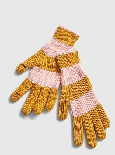A pair of yellow and pink gloves