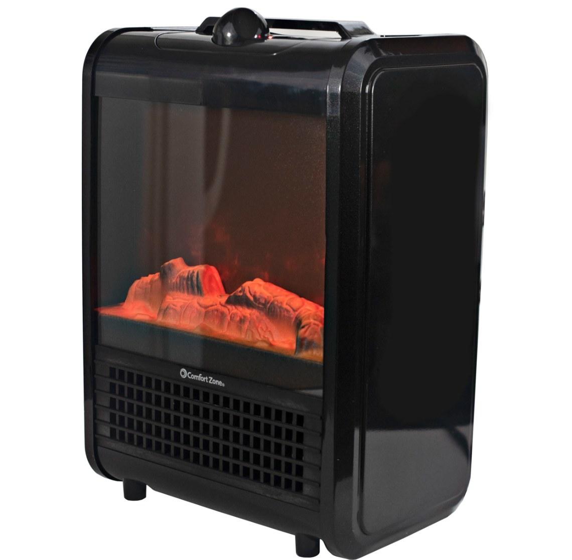 The mini electric fireplace in black