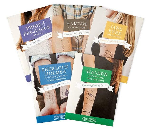 the various tattoos based off books including pride & prejudice, hamlet, jane eyre, sherlock holmes, and walden