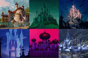 Side-by-side images of several Disney castles including Jasmine's palace, Cinderella's castle, and Anna's castle
