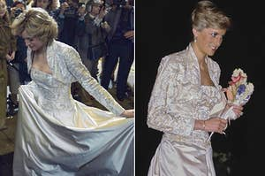 Princess Diana in a white ball gown in The Crown vs. IRL