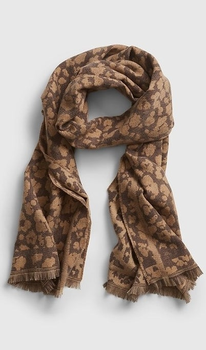 A brown animal print scarf