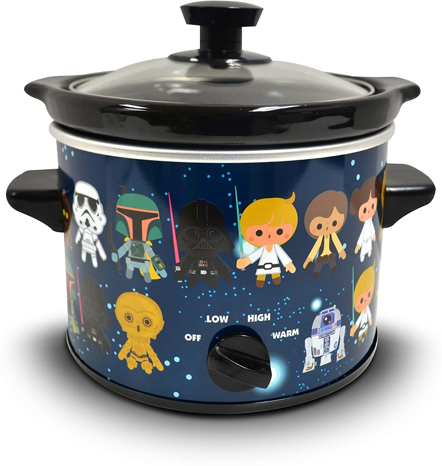 the slow cooker with animated Star Wars characters all over it including R2D2, Princess Leia, Darth Vadar, and more