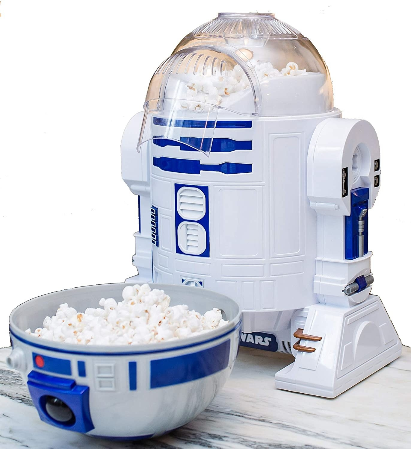 popcorn maker shaped EXACTLY (and I do mean EXACTLY) like R2D2. The robot's head pops off and serves as a bowl to eat out of.