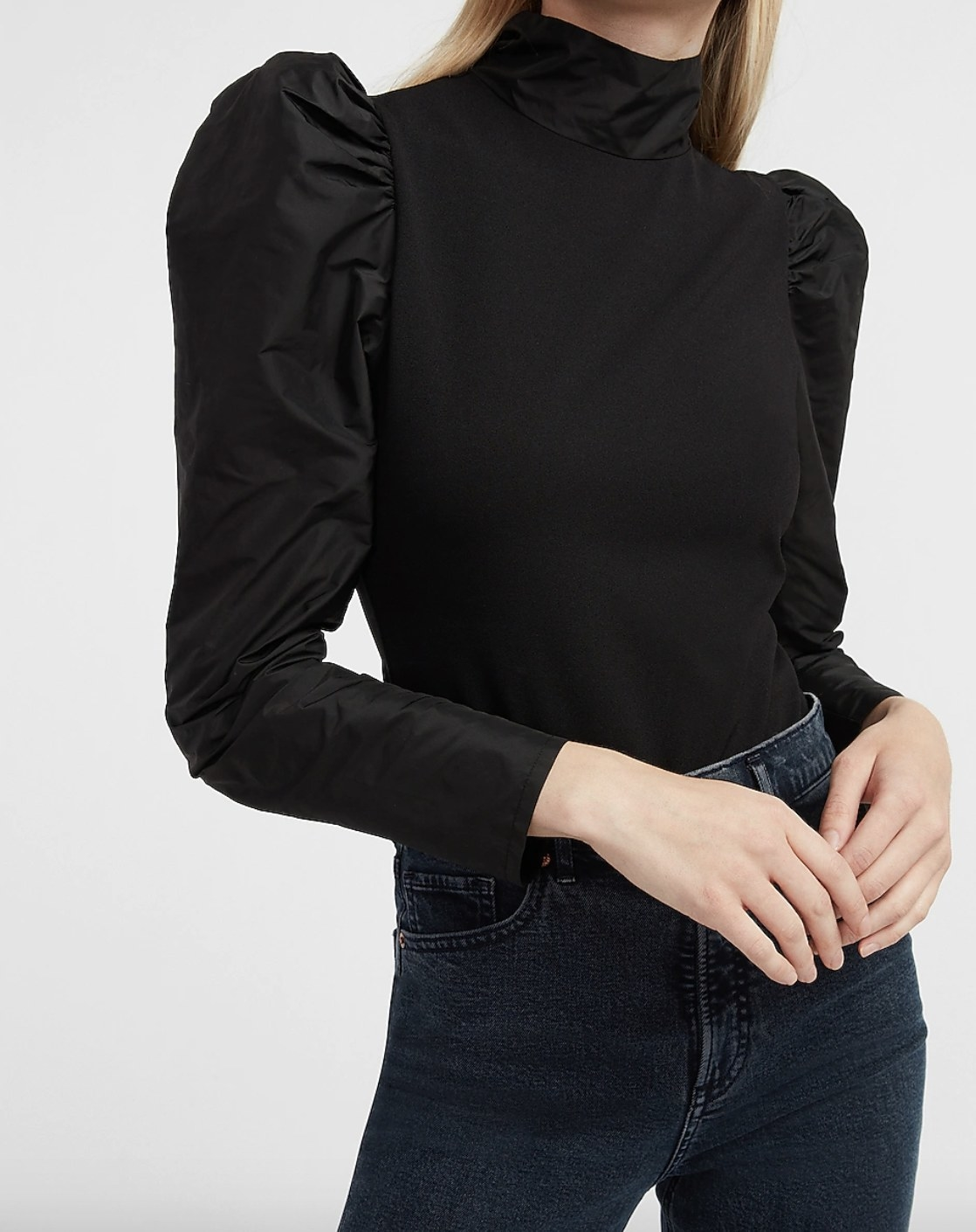 puff sleeve body-suit in black