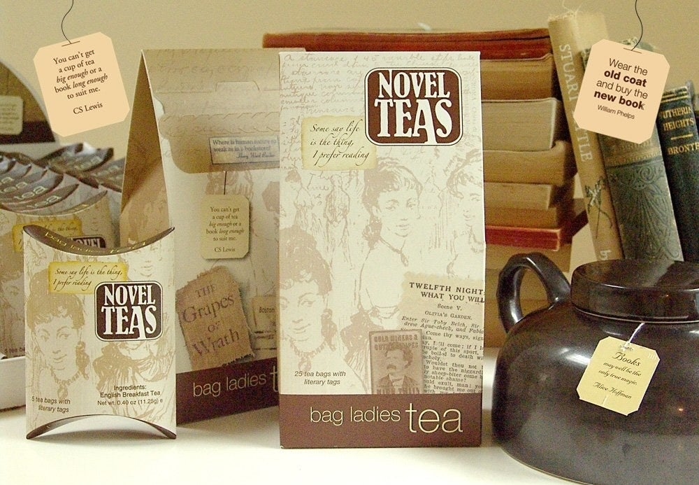 the container of the bag of novel teas showing some of the tea bags with their quotes