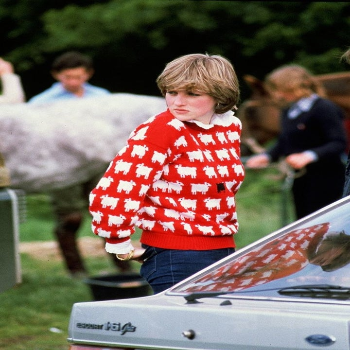Diana, Princess of Wales (1961 - 1997) wearing 'Black sheep' wool jumper by Warm and Wonderful (Muir & Osborne) to Windsor Polo, June 1981. (Photo by Tim Graham Photo Library via Getty Images)