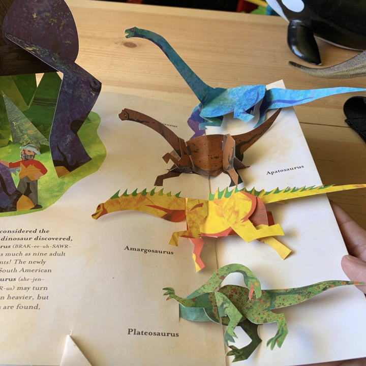 reviewer photo of book page with dinosaur pop-ups inside