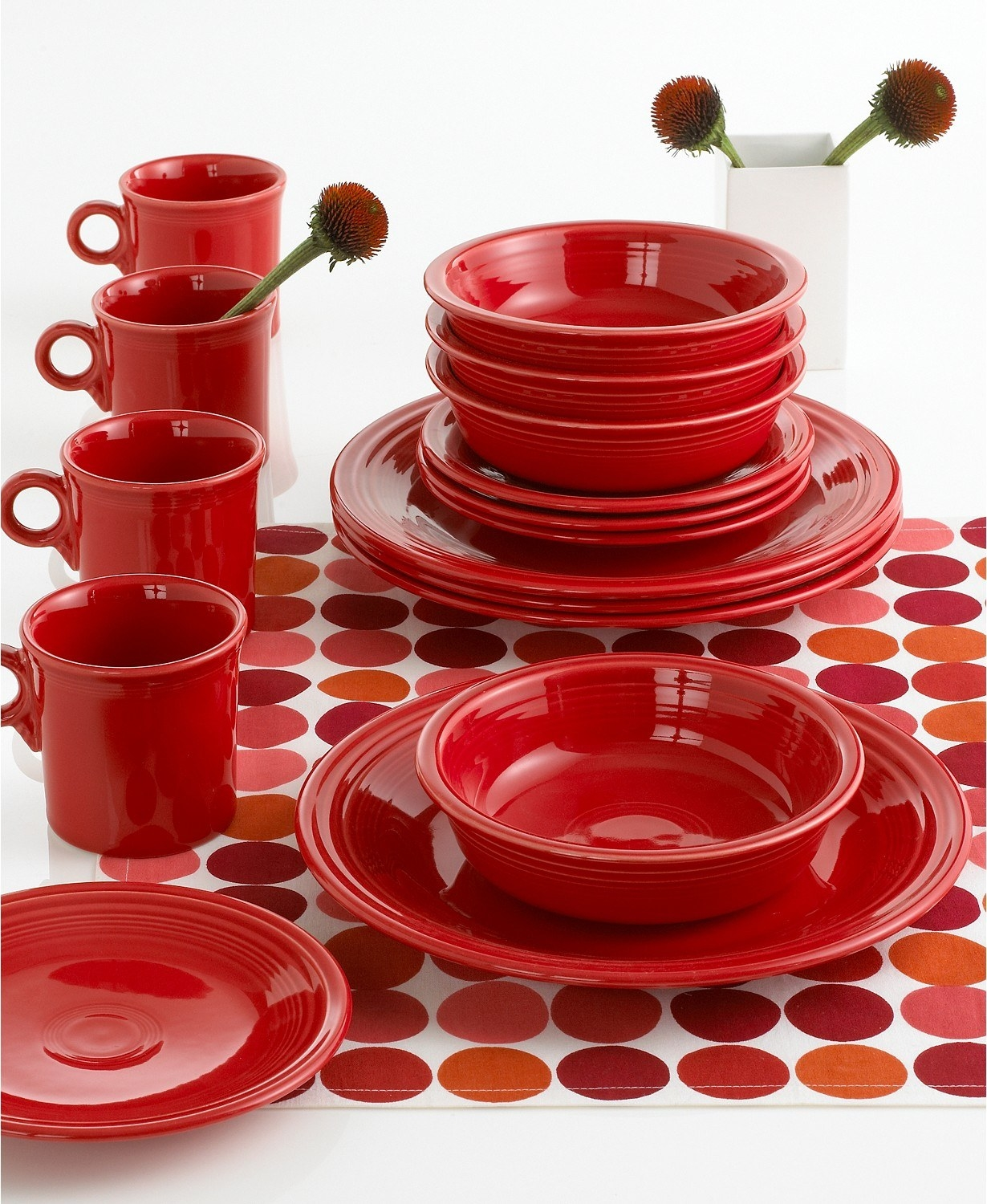 the fiesta scarlet collection on a red dotted placemat