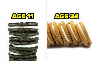 classic and golden oreo with age labels 11 and 34