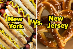Ketchup and mustard covered hotdogs and salted soft pretzels.