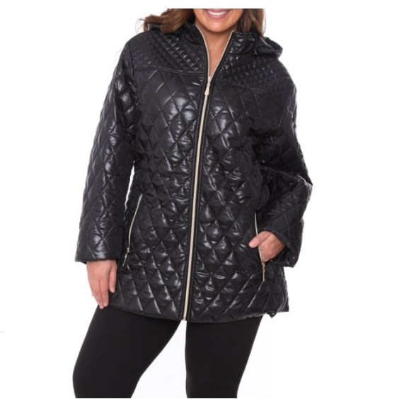 A quilted puffer coat.