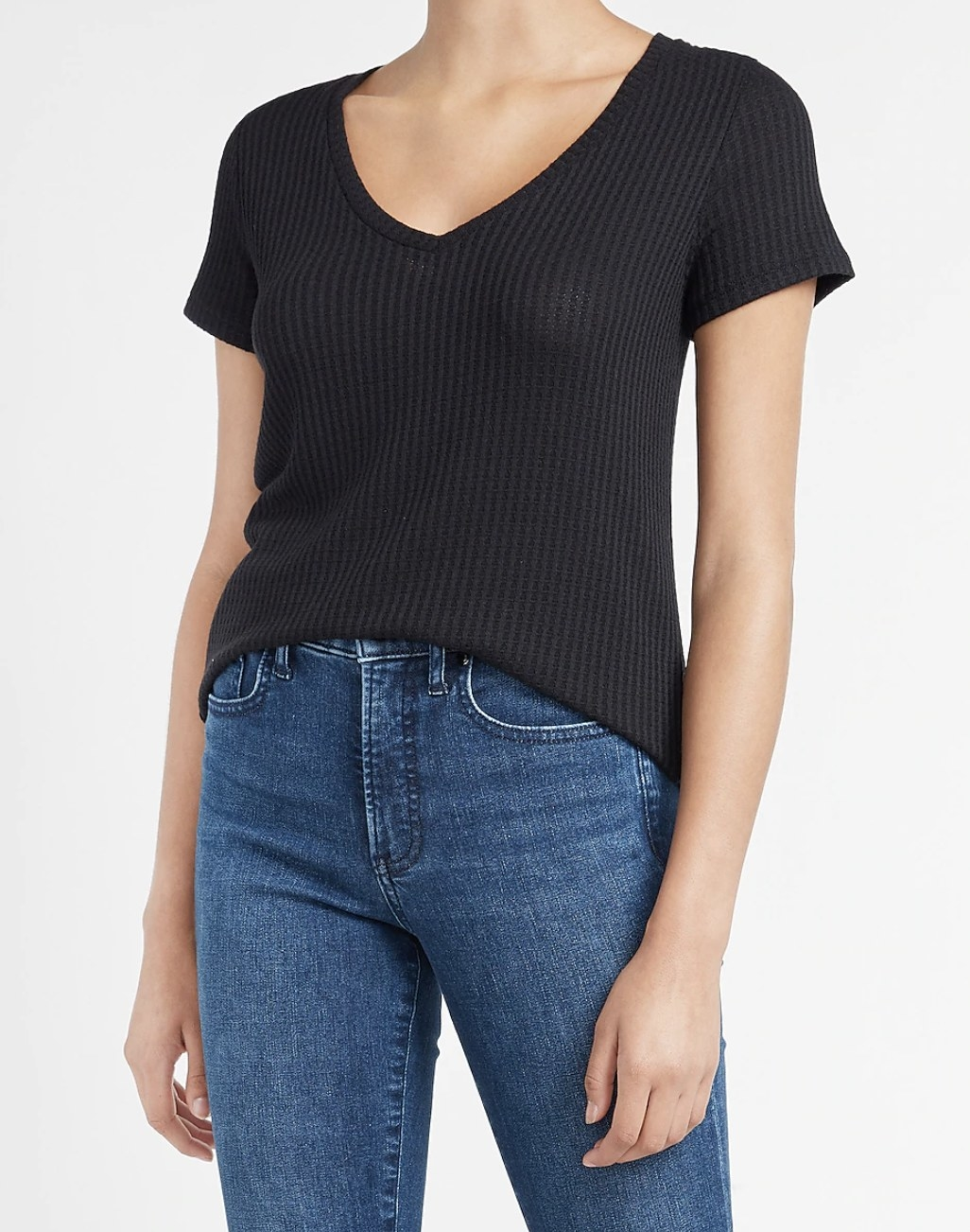 waffle knit v-neck t-shirt in black