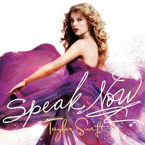 Cover of Speak Now with Taylor Swift twirling in a purple dress