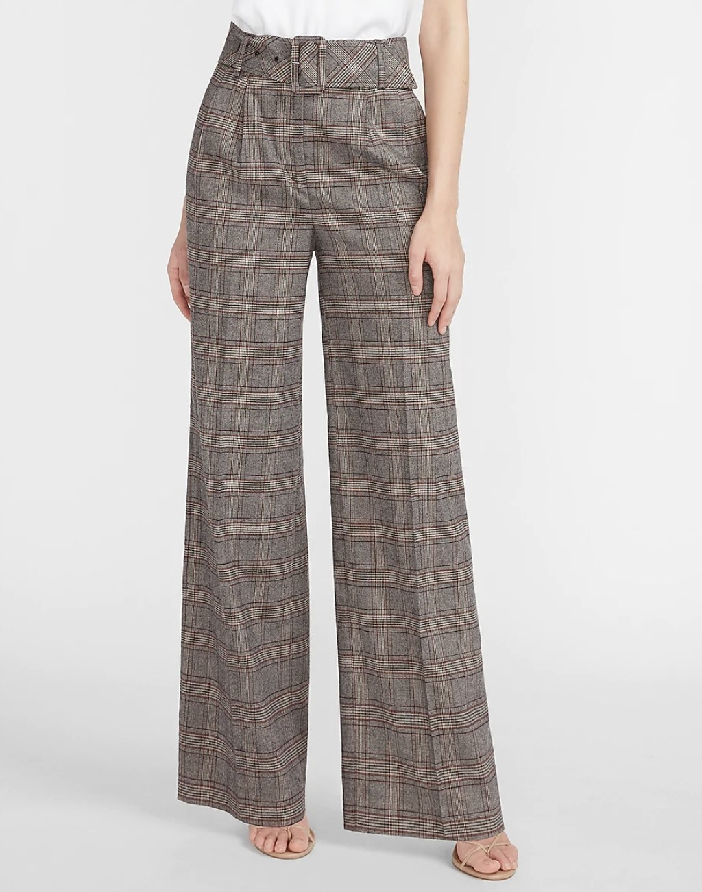 high-waisted plaid pants with a square belt
