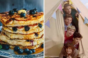 On the left, a stack of blueberry pancakes topped with blueberries, syrup, and butter, and on the right, Liam, Louis, Niall, Zayn, and Harry peeking out a tent in the