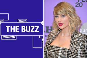 Splitscreen of purple graphic with THE BUZZ in white letters on the right side and a photo of Taylor Swift in a plaid jacket looking at the camera with her face in slight profile on the left side. (CREDIT: GETTY)