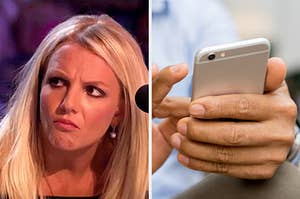 On the left, Britney Spears scrunching up her face in confusion, and on the right, someone texting