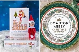 """Two panels, showing the book covers of """"The Elf on the Shelf"""" and """"The Official Downton Abbey Christmas Cookbook"""""""