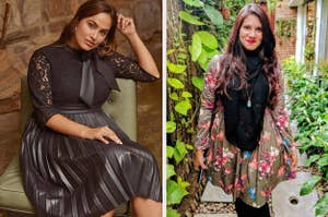 On the left, a model in a faux leather and lace dress. On the right, a reviewer in an olive floral dress