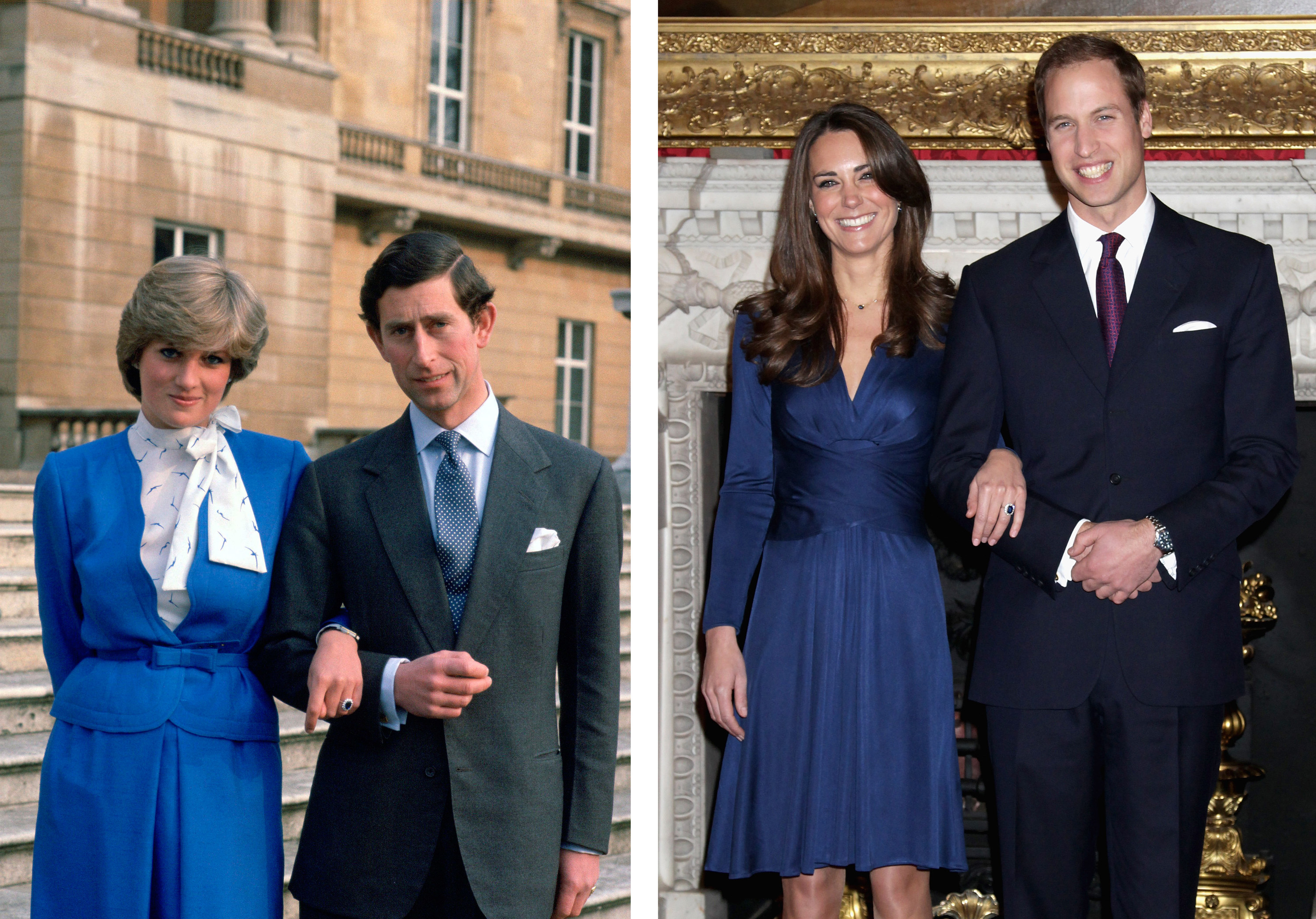 A photo of Charles and Diana during their engagement announcement next to William and Kate
