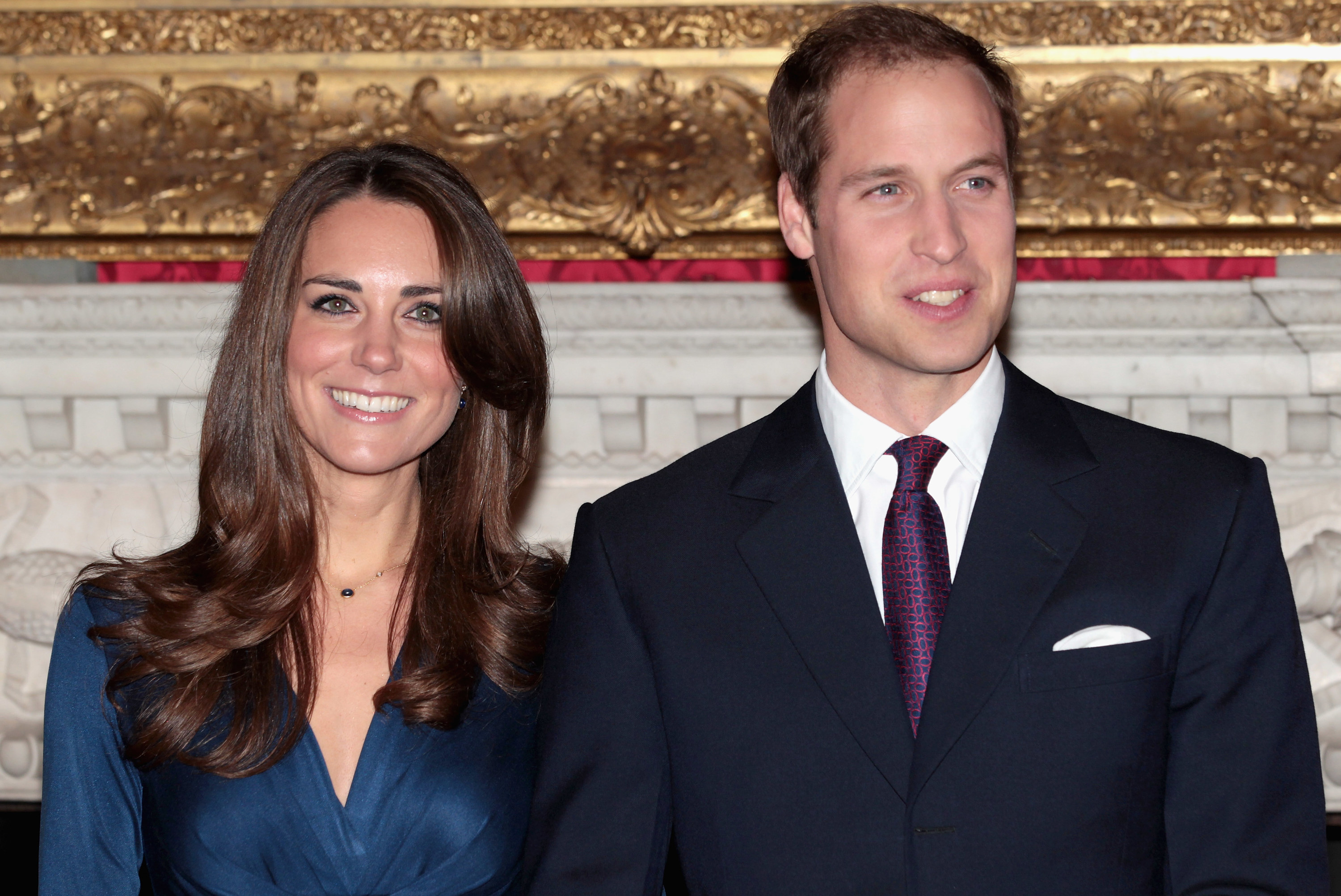 A photo of Kate and William standing next to each other during their engagement press conference