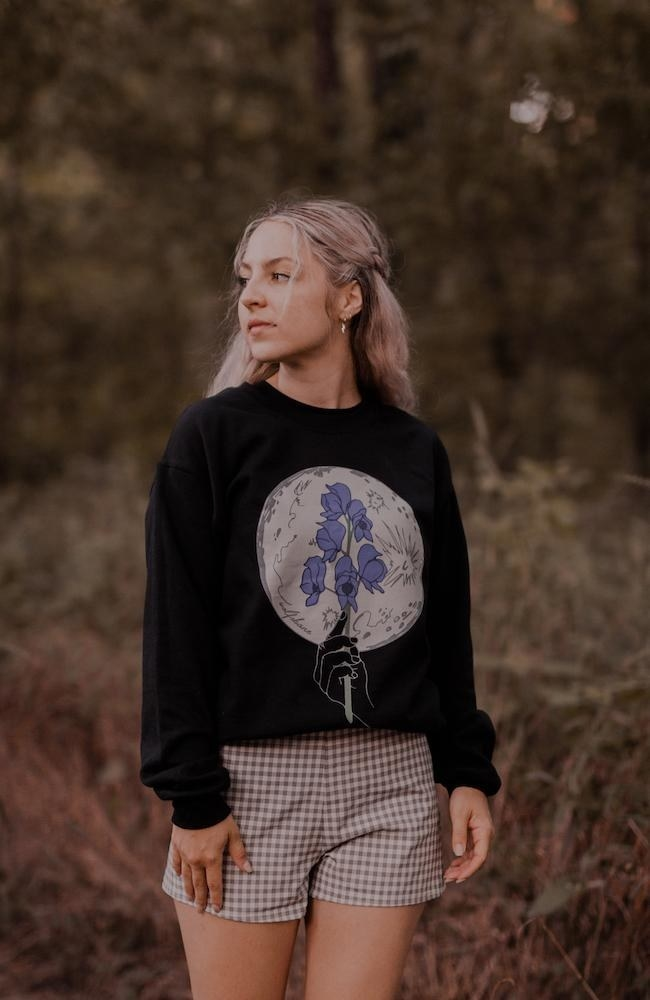 Model wears Wolfsbane crewneck