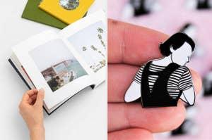 A photo book / a Fleabag pin
