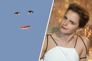 Emma Watson looking confused at a pair of eyes and some lips belonging to an unknown Harry Potter character