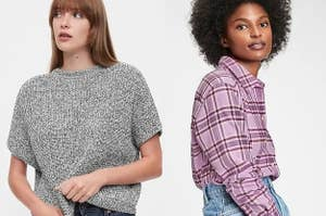 to the left: a model in a gray t-shirt sweater, to the right: a model in a purple flannel top